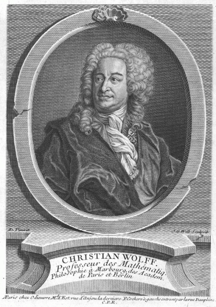 Christian Wolff  (*24. Januar 1679, †09. April 1754), Quelle: Johann Georg Wille, Lizenz: Public domain