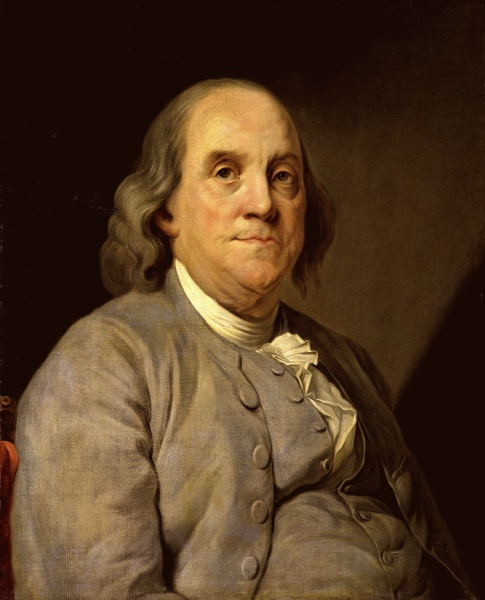 Benjamin Franklin (*17. Januar 1706, †17. April 1790), Quelle: Joseph Siffred Duplessis, Lizenz: Public domain