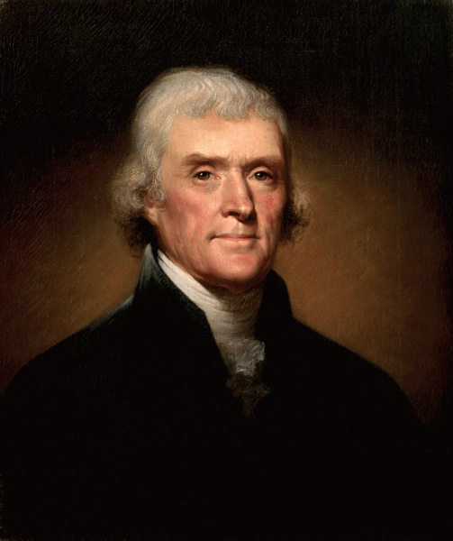 Thomas Jefferson (*13. April 1743, †04. Juli 1826), Quelle: Rembrandt Peale, Lizenz: Public domain